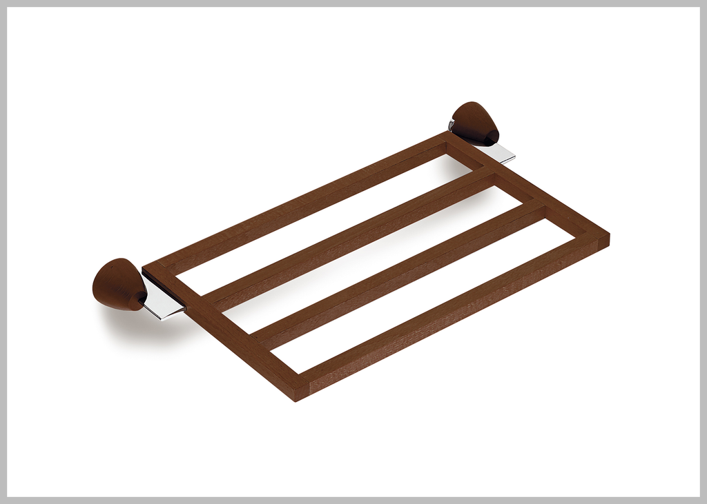 Testa chrome-walnut towel shelf hotel style. towel rack