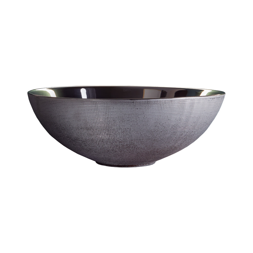 Brest silver bathroom vessel sink. Textured Porcelain.