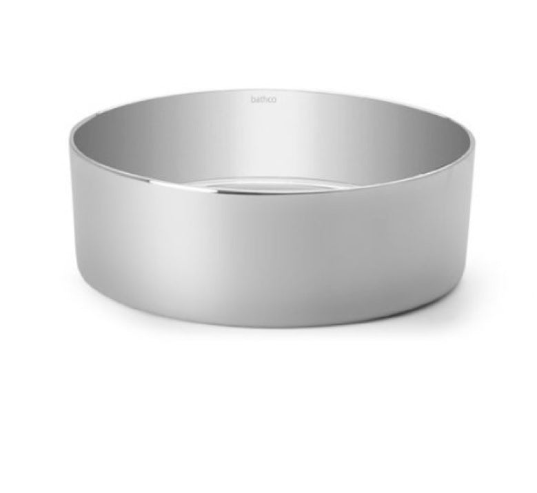 Dinan polished silver bathroom vessel sink. Shiny finish