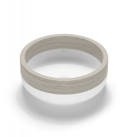 Lucca Solid Surface bathroom vessel sink. Natural wood