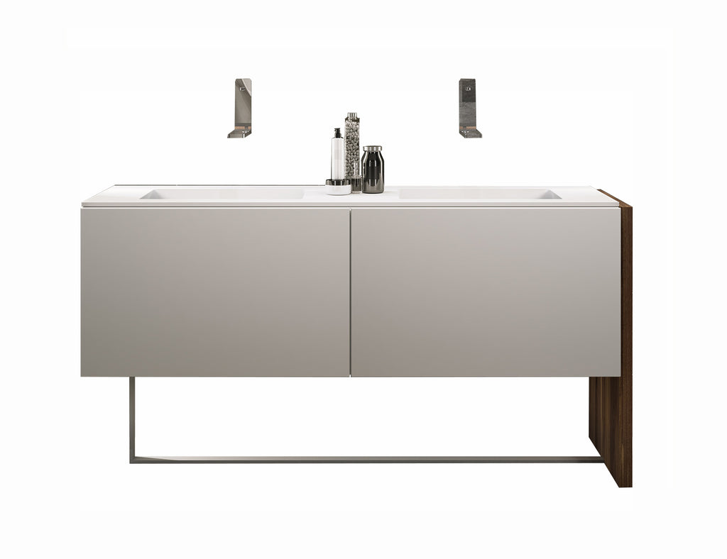 "MO-DO double sink bathroom vanity 65"". Matte white lacquered."