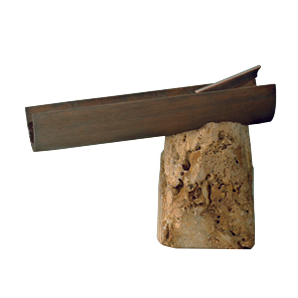SGR Natur single hole bathroom sink faucet. Travertine marble