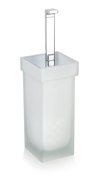 Orio Free Standing Frosted glass toilet brush holder set.
