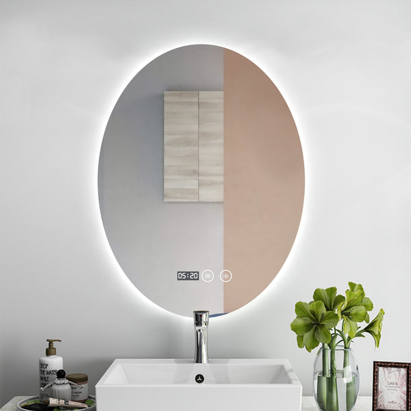 OVAL LED mirror. Touch sensor, defogger, temperature (°F) and clock