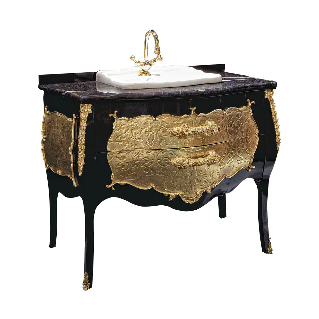 Palace black and gold bathroom vanity. Swarovski crystals inlaid