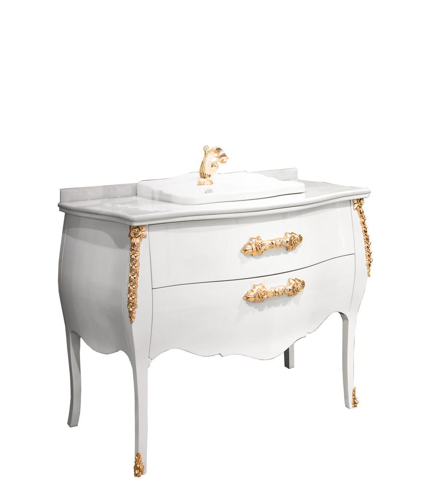 Palace white gold bathroom vanity. Swarovski crystals inlaid