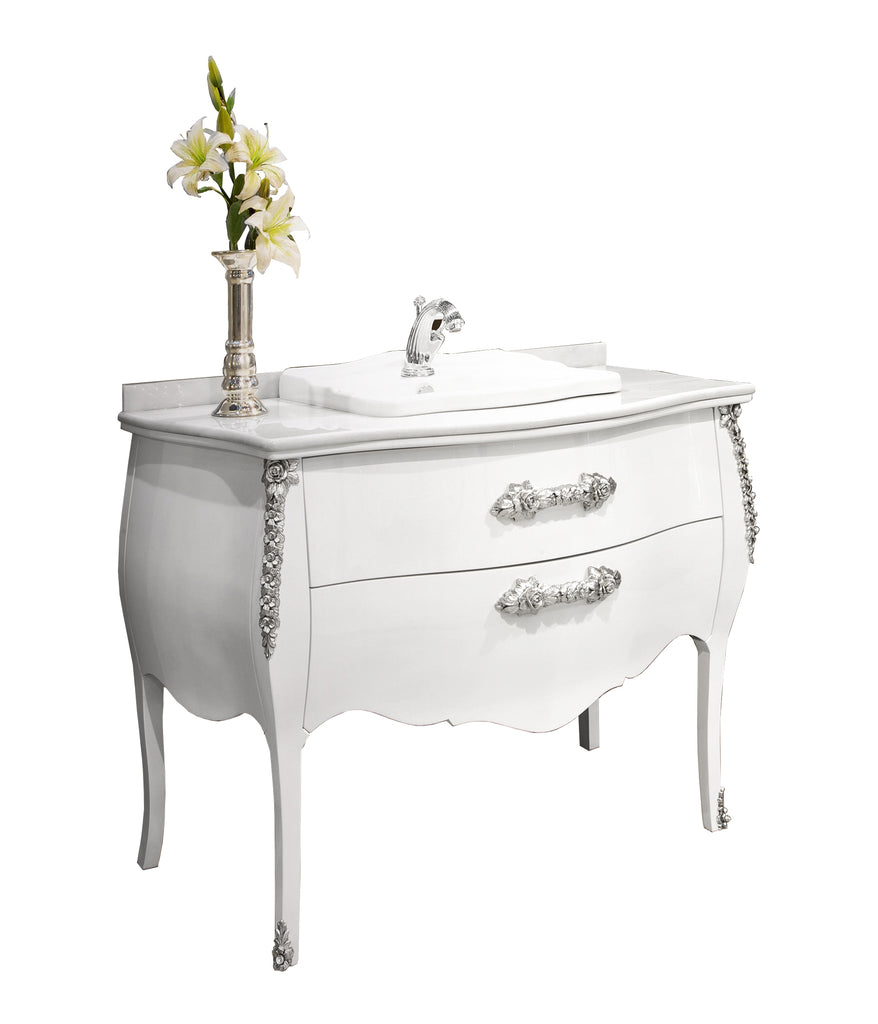 Palace white silver bathroom vanity. Swarovski crystals inlaid
