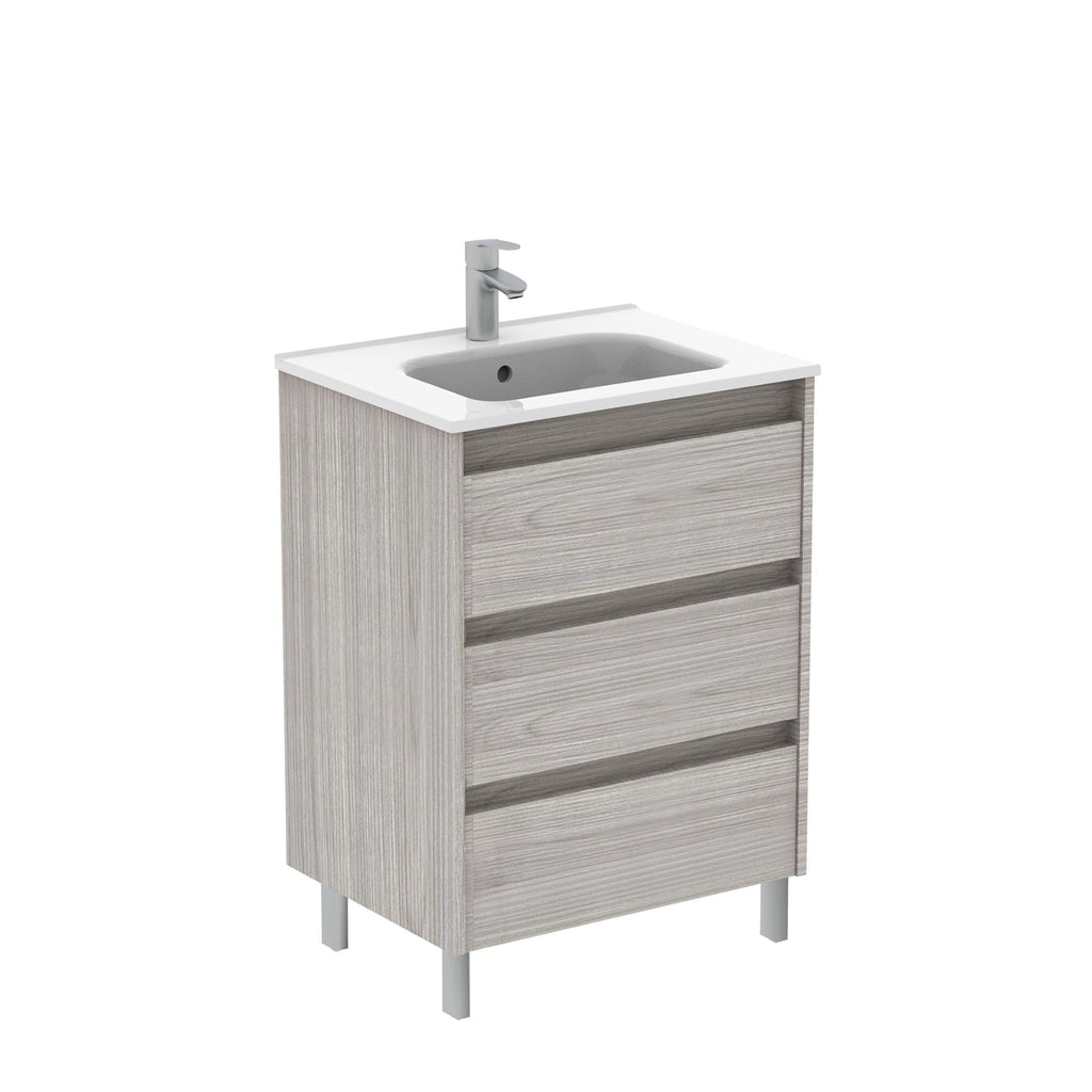 Sansa 24 inches Modern Standing Bathroom Vanity 3 Drawer Grey with ceramic basin