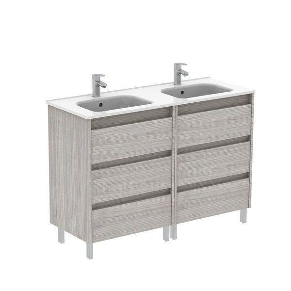 Sansa 48 inches Modern Standing Bathroom Vanity 3 Drawer Grey with double basin