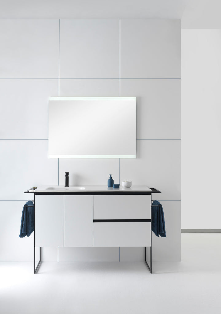 "Sructure bathroom vanity 48"". 2 Draws, 2 doors. Matte white lacquered."