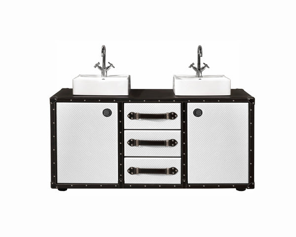 "Traveler double sink bathroom vanity 54"". Black and white leather upholstered"