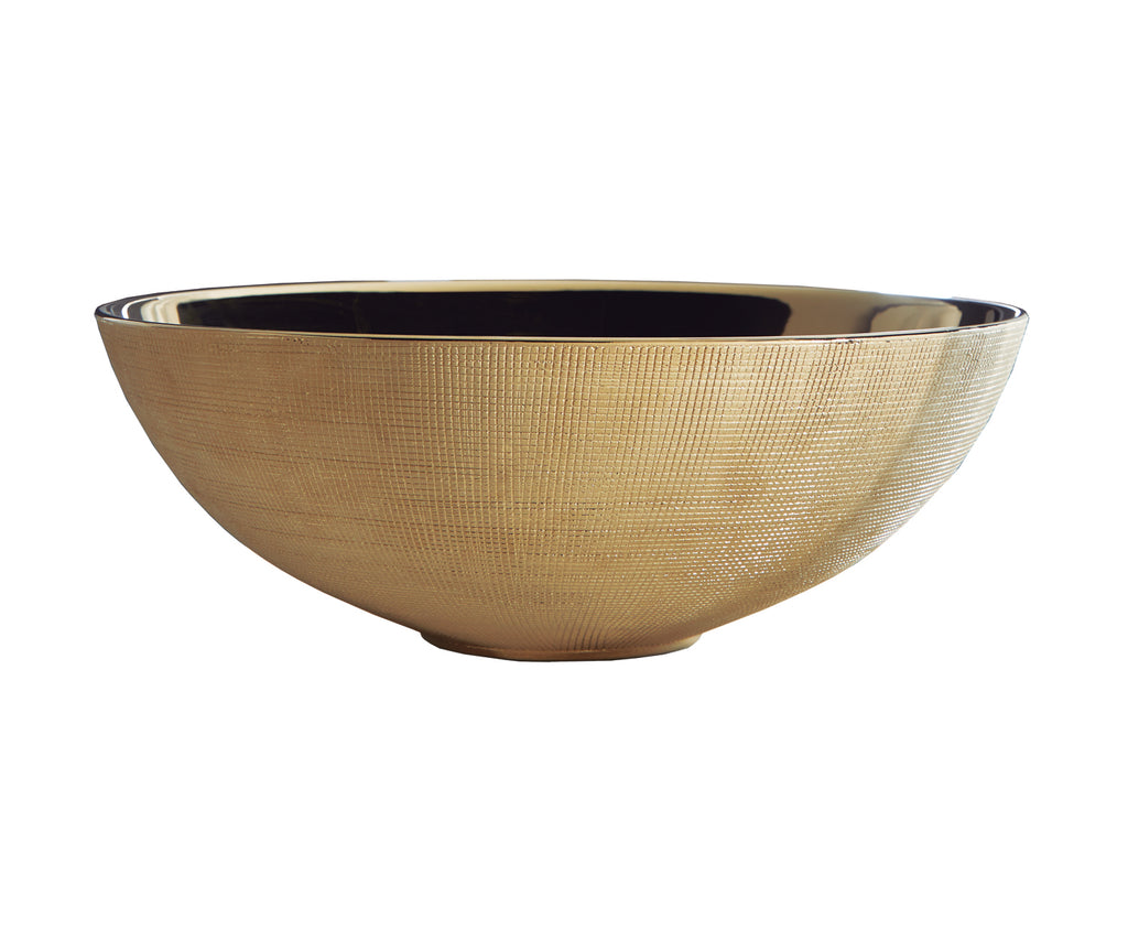 Brest gold bathroom vessel sink. Textured porcelain.