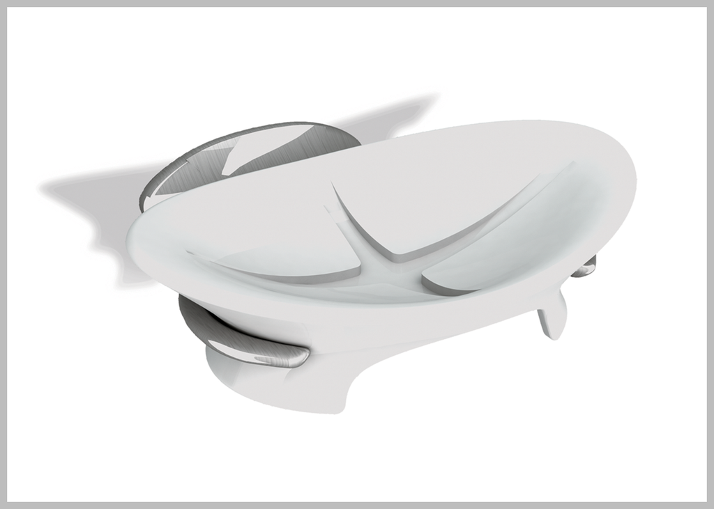 Amara soft white porcelain wall soap dish.