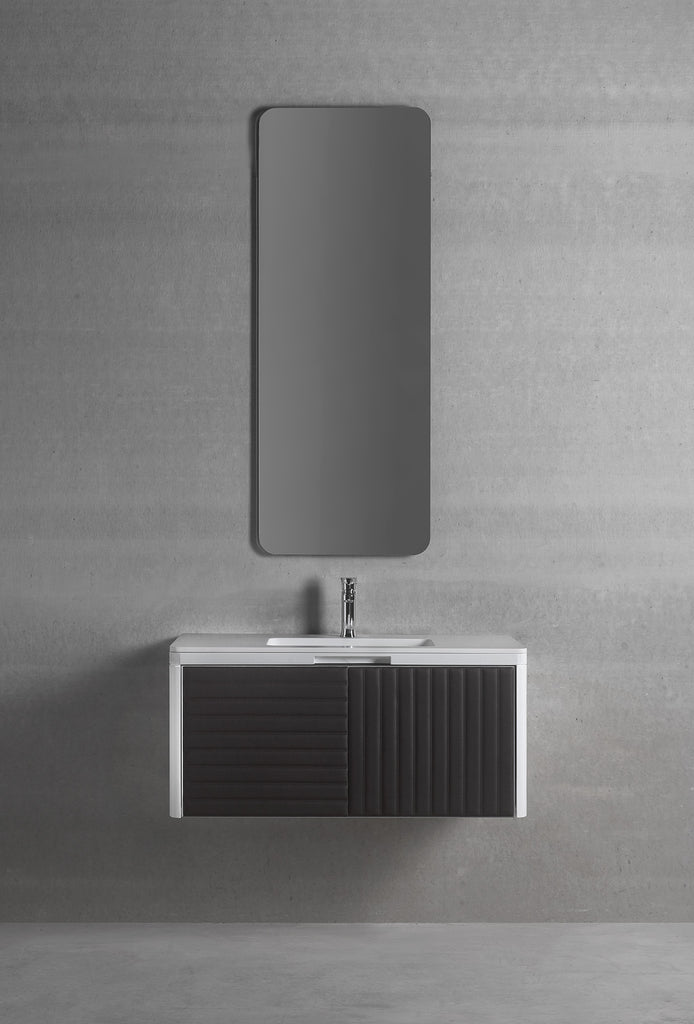 "Boston wall mounted bathroom vanity 37"". Lacquered and leather."