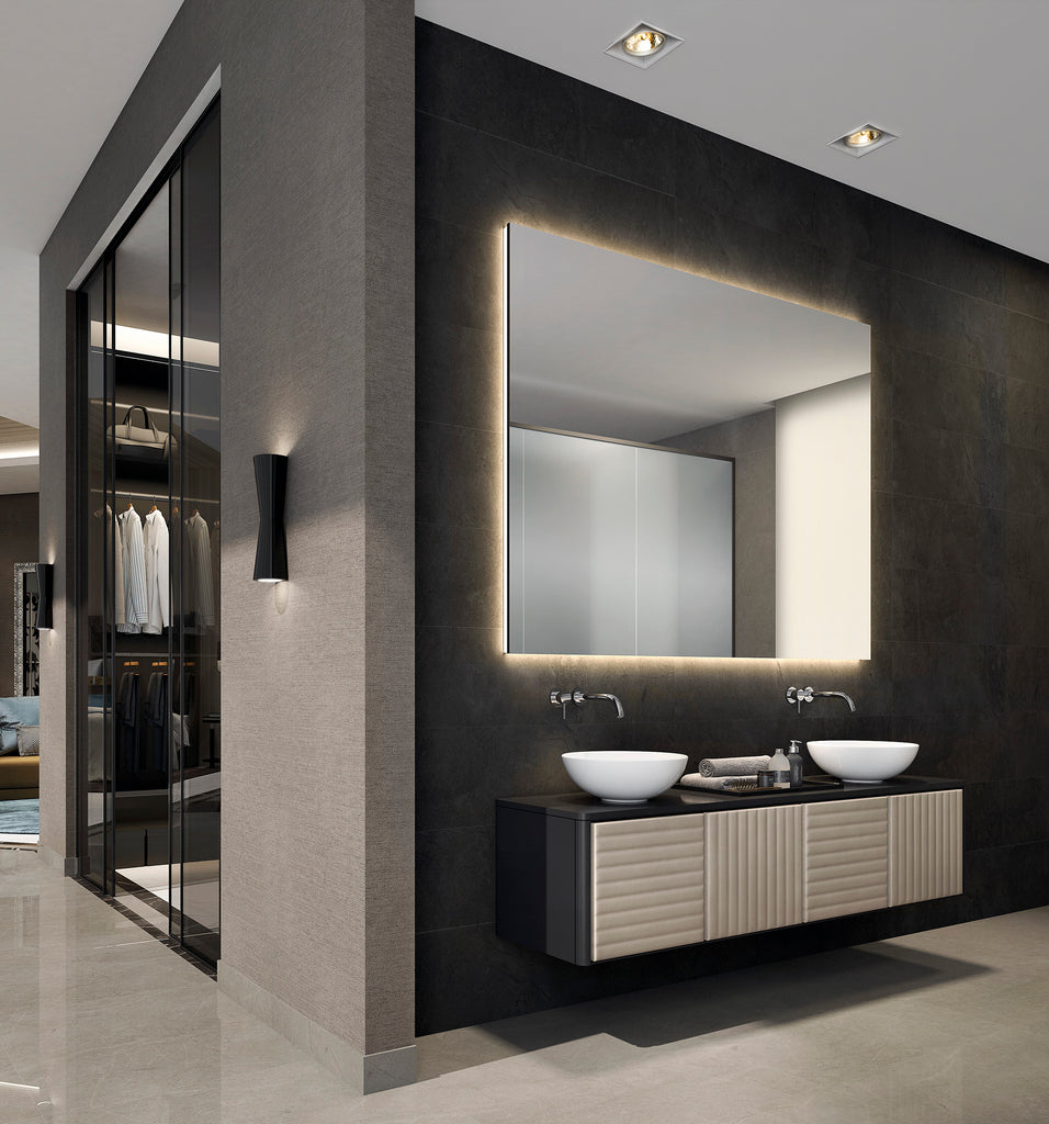 "Boston wall mounted bathroom vanity 72"". Lacquered and leather."
