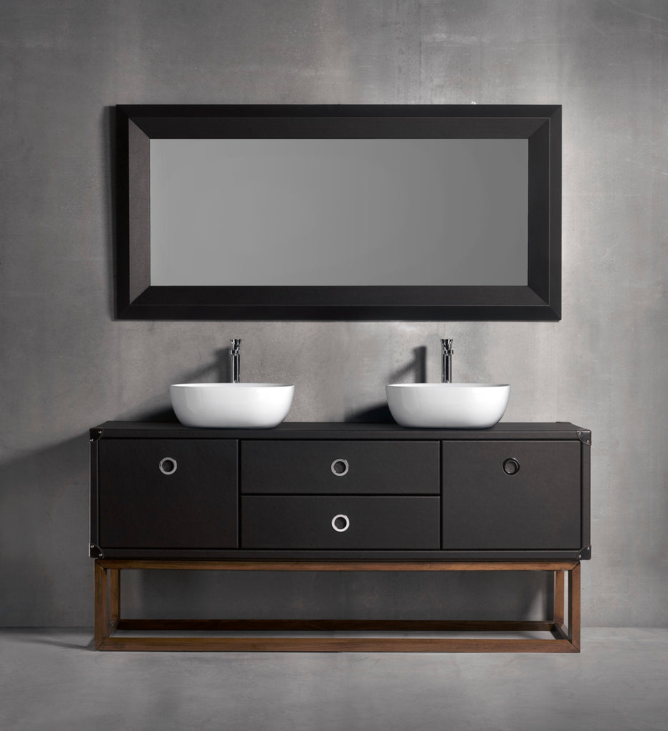 "Compass  double sink wall mounted bathroom vanity 71"". Brown Leather Upholstery"
