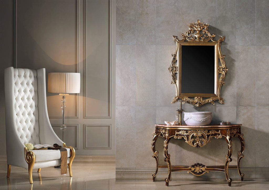 "Isabel Traditional Bathroom console 51"". Hazelnut and gold leaf finished."