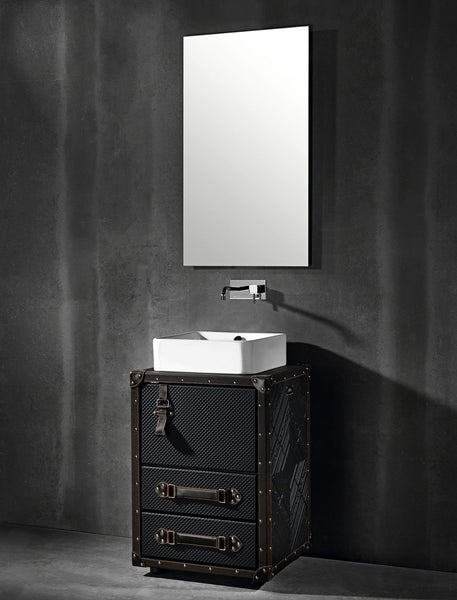 "Traveler bathroom vanity 21"". Brown and black leather upholstered"