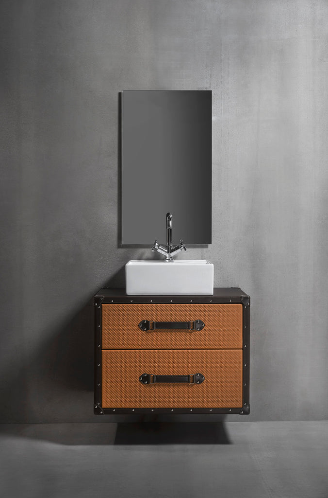 "Traveler bathroom vanity 32"". Brown and orange leather upholstered"