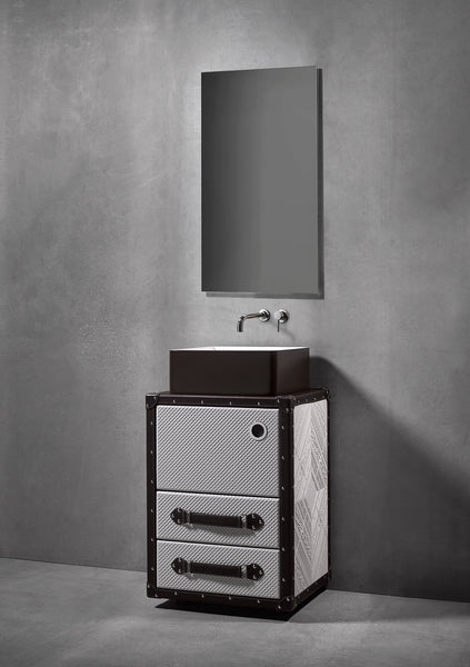 "Traveler bathroom vanity 21"". Black and gray leather upholstered"