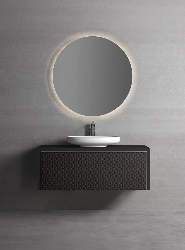 "Auriga wall mounted bathroom vanity 47"". Black Leather Upholstery"