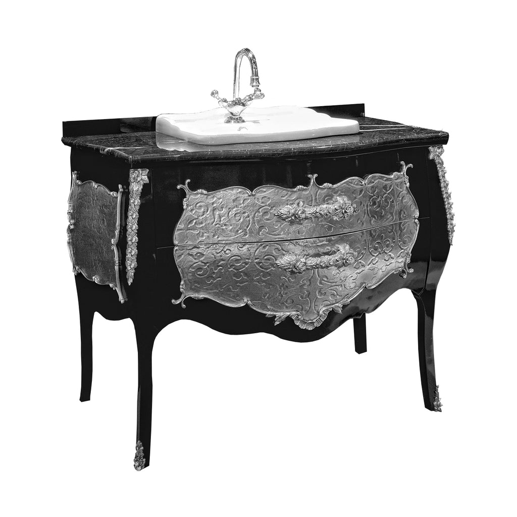 Palace black and silver bathroom vanity. Swarovski crystals inlaid