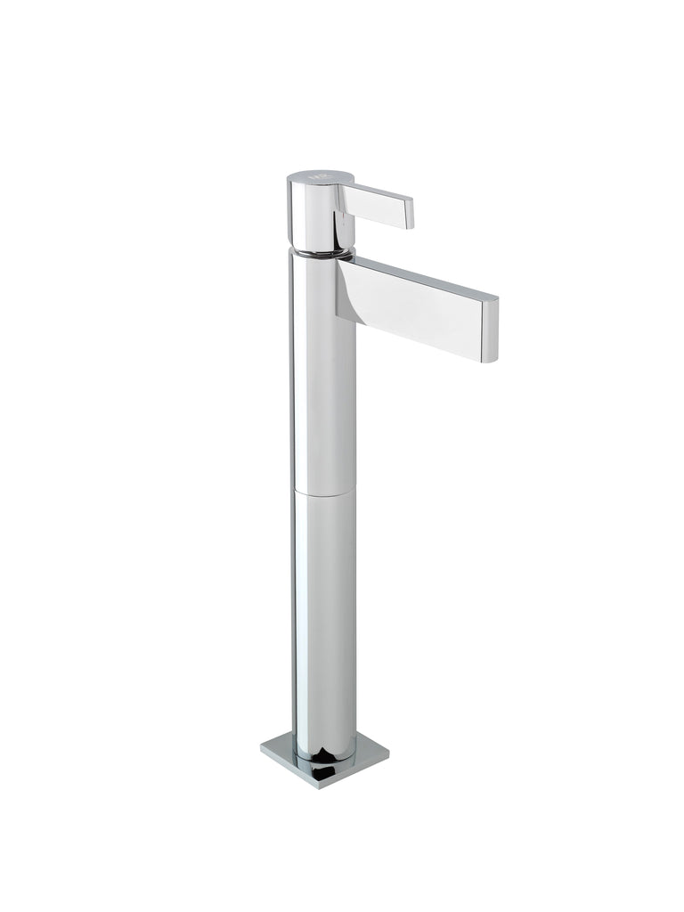 Tanau single handle bathroom vessel sink faucet.