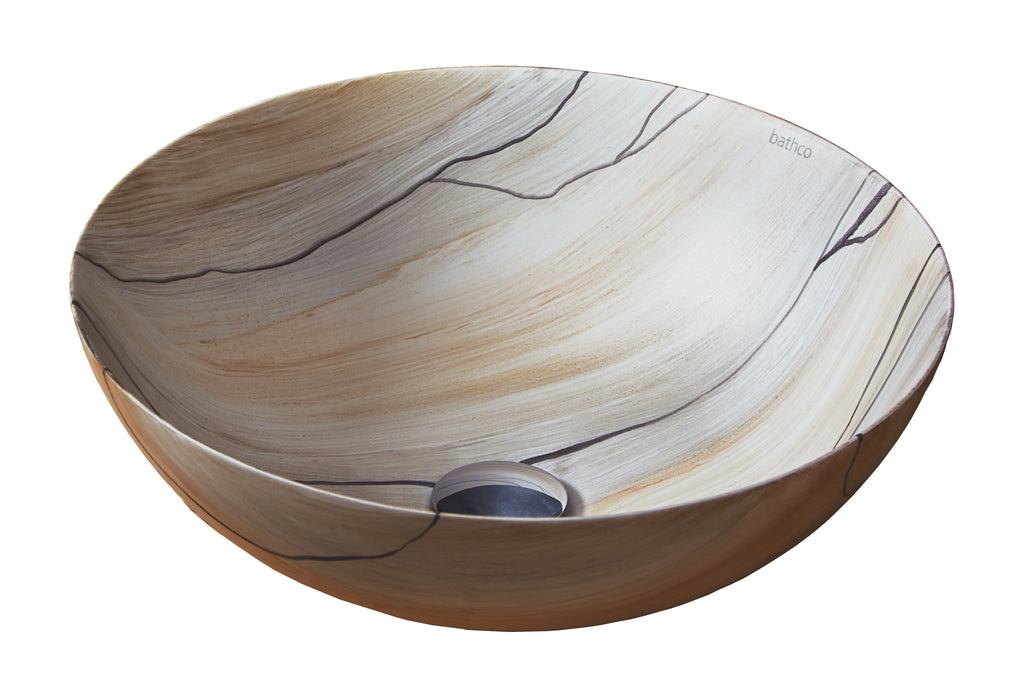 Wood bathroom vessel sink. Hand Painted. Matte natural wood finished.