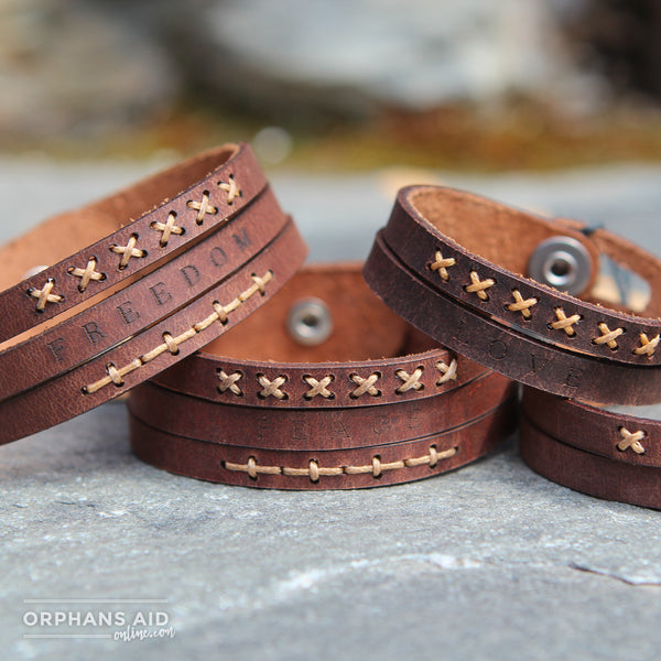 Be the Change Leather Wristbands - 3 Strand