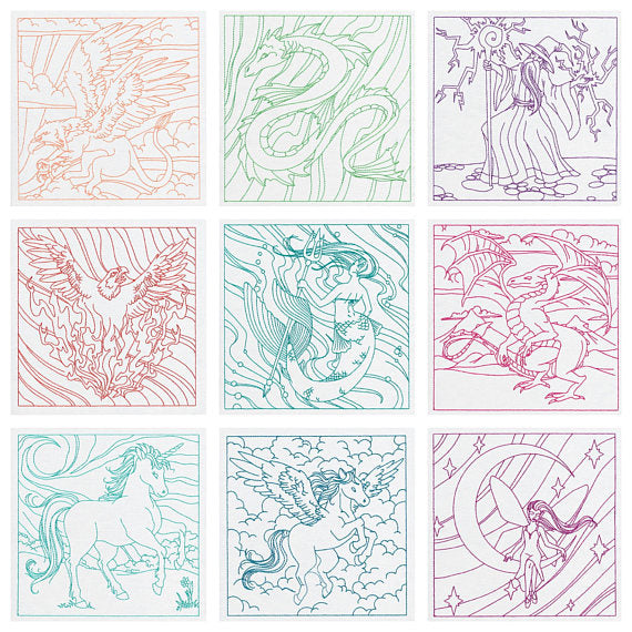 Color-a-Square Embroidered Quilt Squares Fantasy Creatures - Sew & Color Your Own Quilt or Project