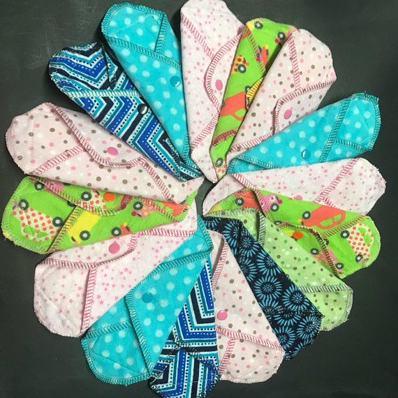 NEW SIZE: Set of 3 MamaBear LadyWear Cloth Menstrual Pad, Pantyliner - Mini Maxi for Teens, Tweens, Petites