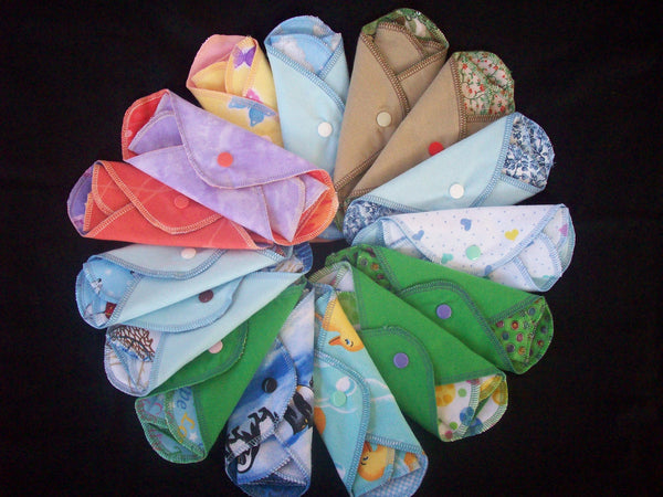 Random Set of 9 MamaBear LadyWear Quick-Dry cloth menstrual pads - Heavy, Medium & Light Flow