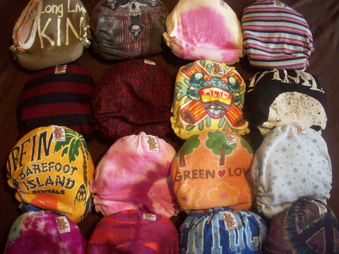 5 MamaBear One Size Cloth Diapers from Upcycled T-Shirts - Snaps