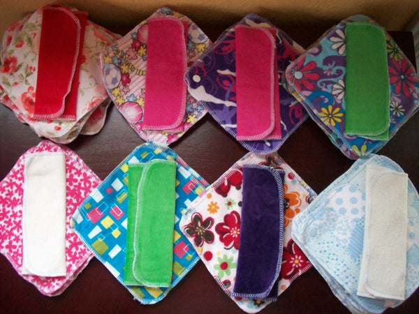 Set of 10 MamaBear LadyWear Quick-Dry cloth menstrual pads - COTTON VELOUR - Heavy/Overnight/Post Partum