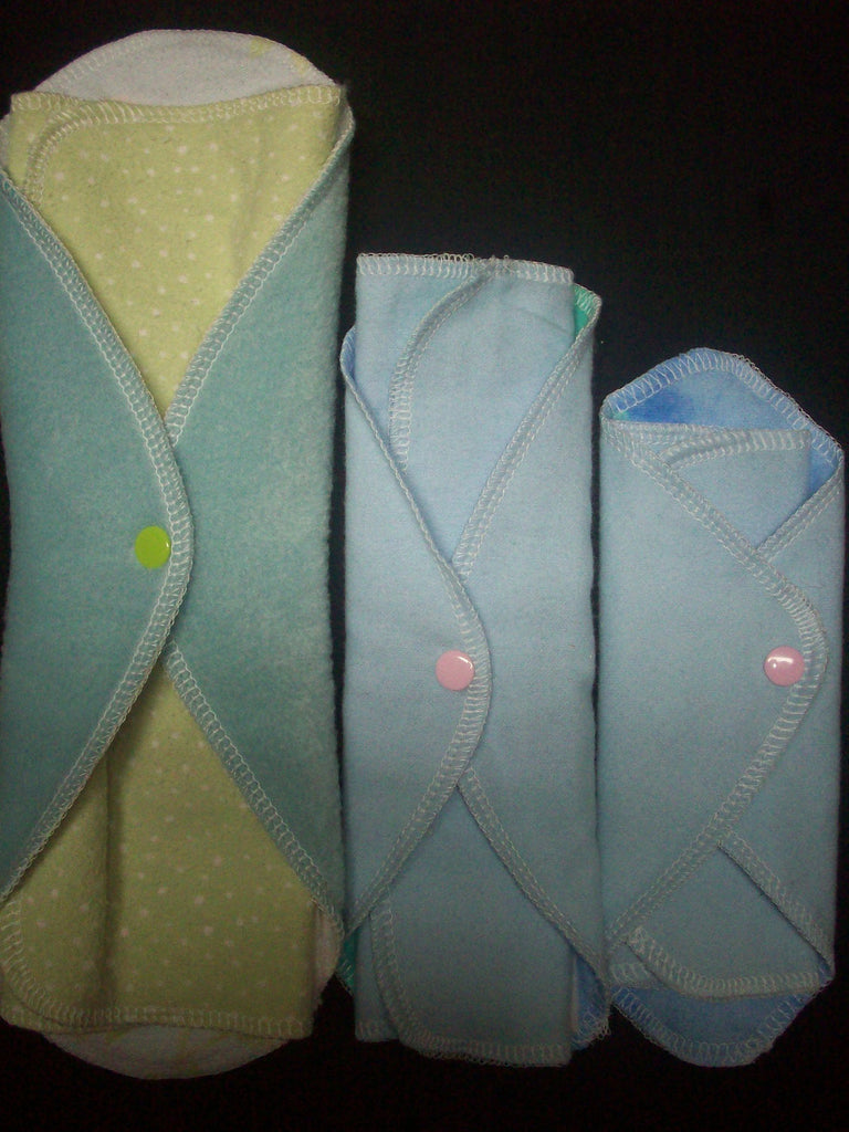 Try 3 MamaBear LadyWear Quick-Dry cloth menstrual pads - COTTON VELOUR - Heavy, Medium & Light Flow