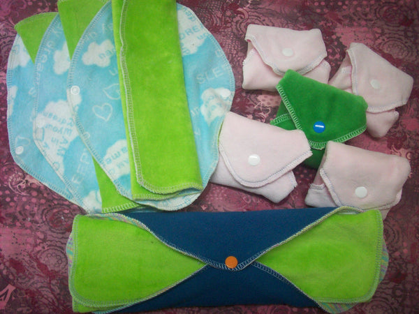 Set of 9 MamaBear LadyWear Quick-Dry cloth menstrual pads - COTTON VELOUR - Heavy, Medium & Light Flow