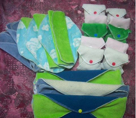 Set of 18 MamaBear LadyWear Quick-Dry cloth menstrual pads - COTTON VELOUR - Heavy, Medium & Light Flow