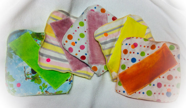 Set of 10 MamaBear LadyWear Quick-Dry cloth menstrual pads - Dailywear Pantiliners - COTTON VELOUR