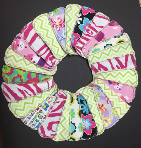 Set of 10 MamaBear LadyWear Quick-Dry cloth menstrual pads - Dailywear Wingless Pantiliners