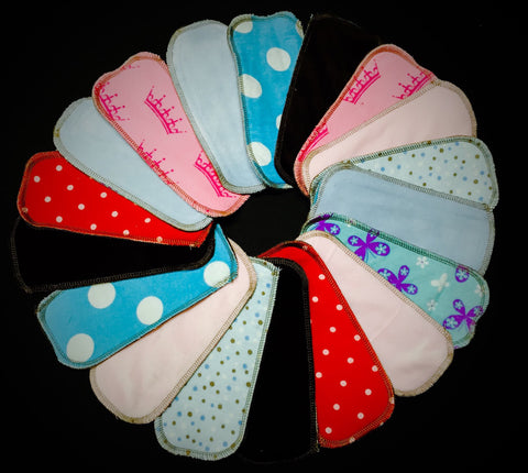 Set of 10 LadyWear Quick-Dry cloth menstrual pads - Dailywear Wingless Pantiliners - COTTON VELOUR