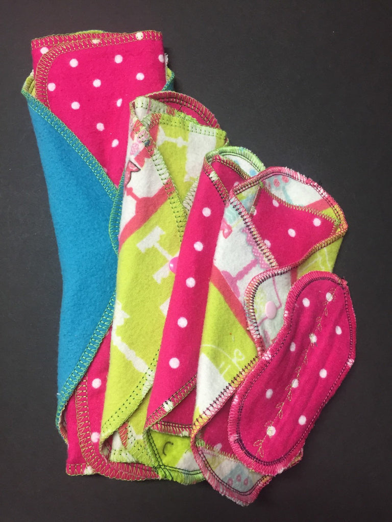 Mixed Prints Set Try 5 MamaBear LadyWear Quick-Dry cloth menstrual pads - Heavy, Medium, Light Flow, Daily & Petal