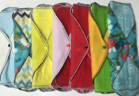 Set of 10 MamaBear LadyWear Quick-Dry cloth menstrual pads - Heavy/Overnight/Post Partum
