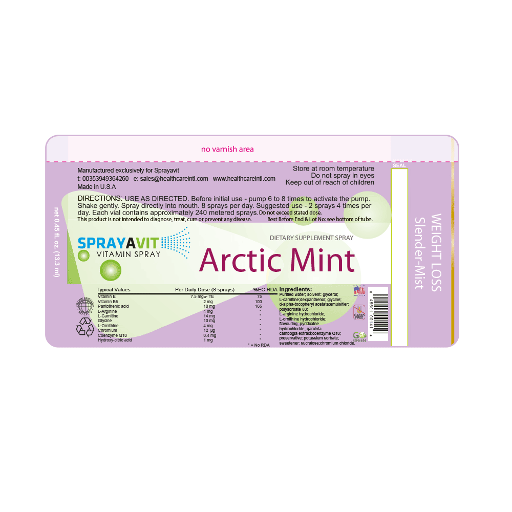 Slender Mist (Arctic Mint flavour) Sprayavit Label Ingredients