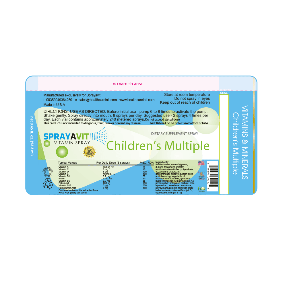 Children Multiple Vitamin Spray Label Ingredients
