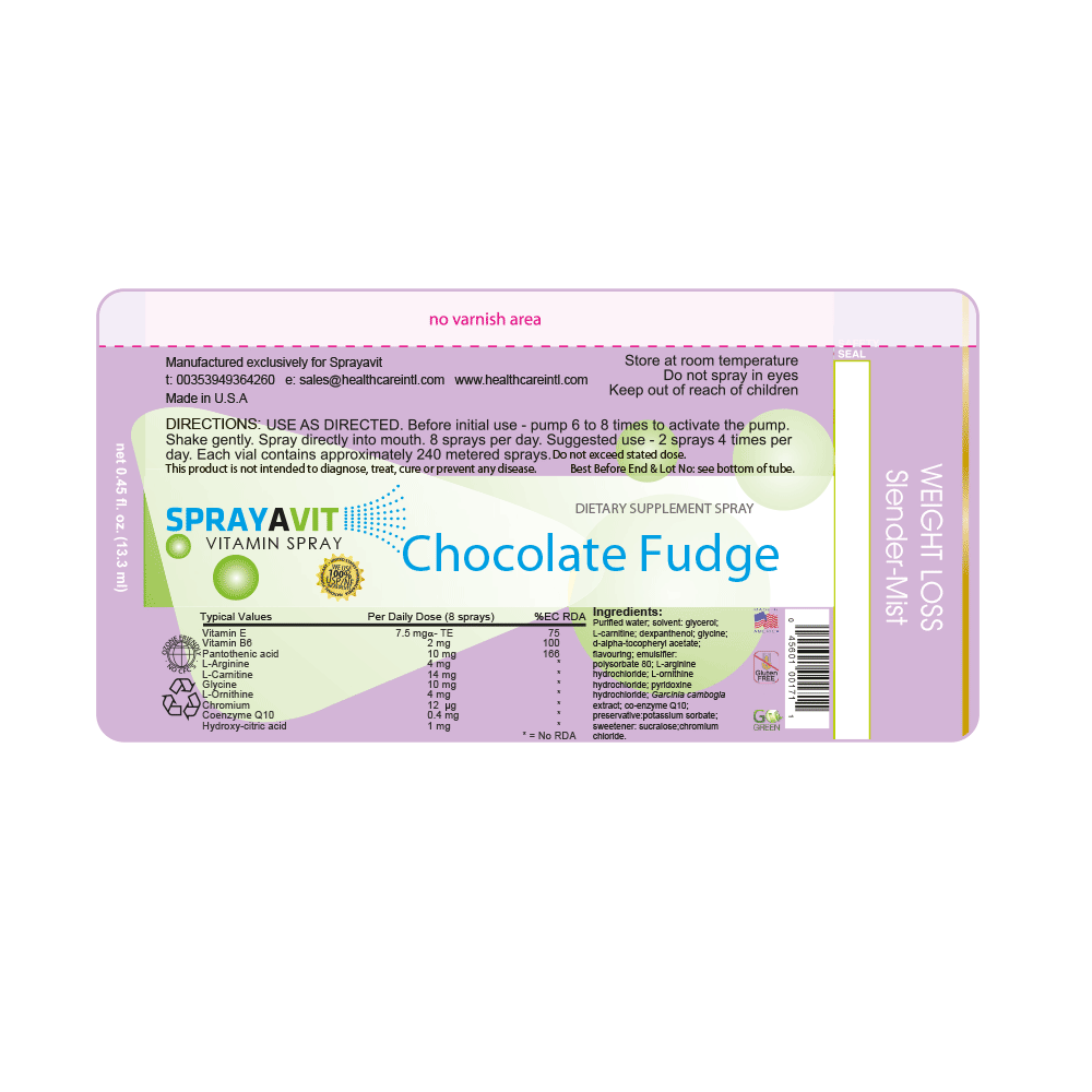 Slender-Mist Chocolate Fudge flavour Ingredient Label