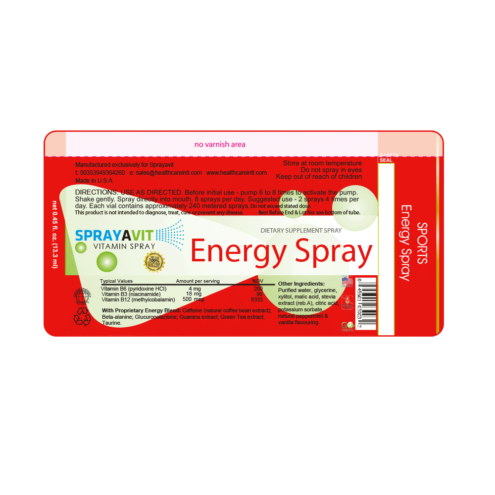 Vitamin B12 Supplement Energy Spray Label Ingredient