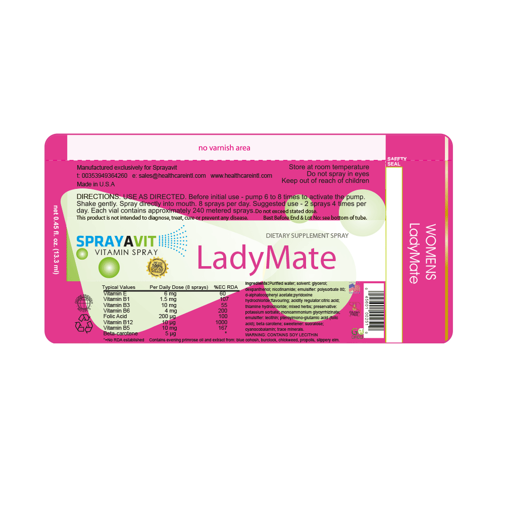 Ladymate Spray Label Ingredients