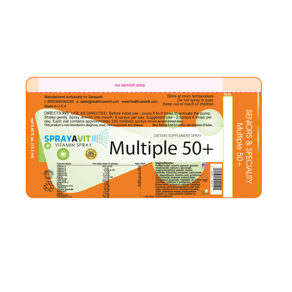 Multiple Vitamin 50+ | Multivitamin Supplements for Senior | Sprayavit Label Ingredients