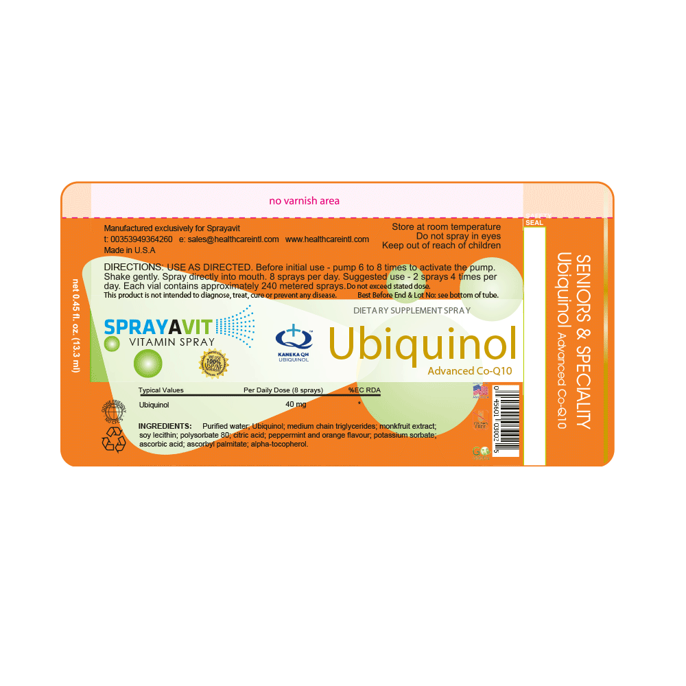 Ubiquinol Supplement Spray Label Ingredients