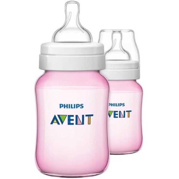 2 Pack Philips Avent Classic+ Anti-Colic Infant & Baby Milk Feeding Bottle - Pink cutebabyangels.co.uk